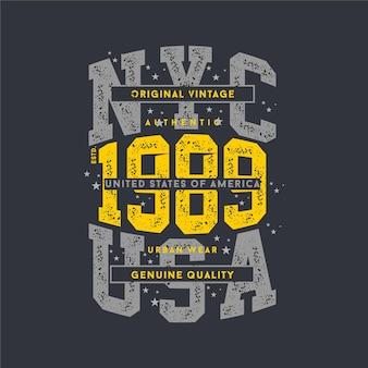 Letras nyc eua, design de tipografia abstrata manchada para impressão de camiseta
