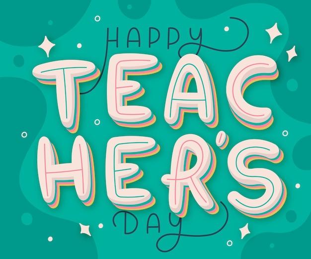 Letras planas do dia dos professores desenhadas à mão