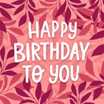 Letras planas orgânicas de aniversário