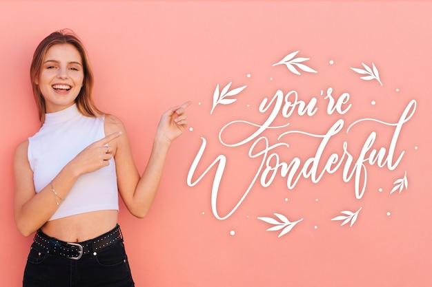 Letras positivas com foto de menina sorridente