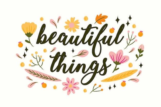 Letras positivas com fundo de flores