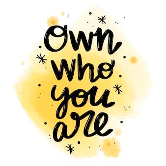 Letras positivas próprias quem você é mensagem na mancha aquarela