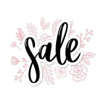 Letras pretas: venda, mão, esboçado venda, lettering, tipografia