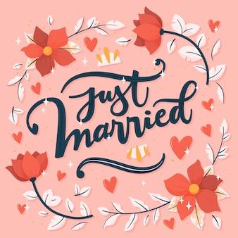 Letras recém-casadas com flores