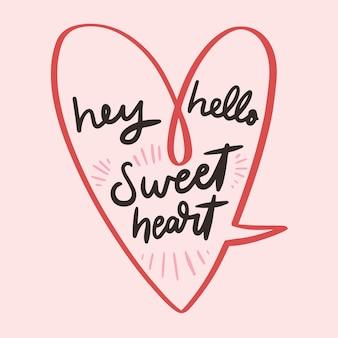 Letras românticas com coração e mensagem