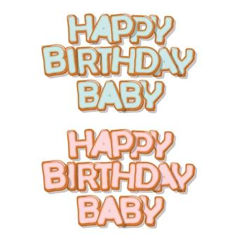 Letras tiradas do bebê mão doce do feliz aniversario.