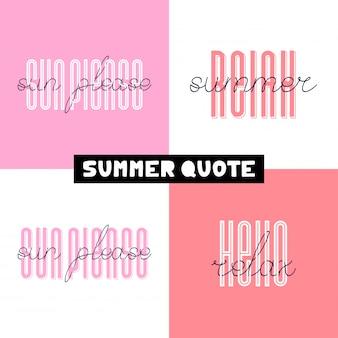 Letras tiradas mão do verão tipografia de verão - olá, sol por favor, relaxe, tempo.