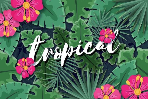 Letras tropicais com estilo de folhas