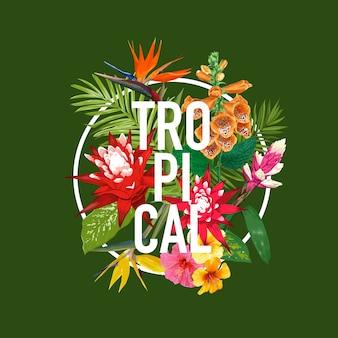 Letras tropicais com flores e design de folhas de palmeira