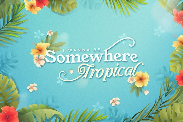 Letras tropicais com folhas e flores