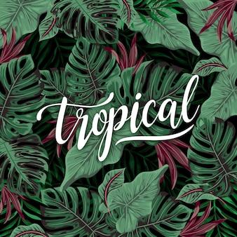 Letras tropicais com folhas ou flores