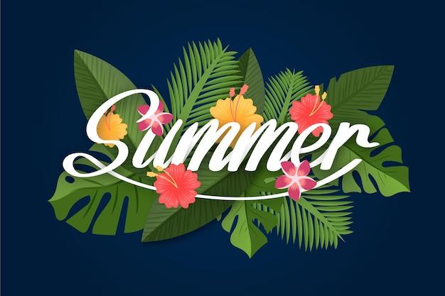 Letras tropicais com verão e folhas