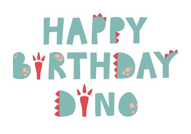 Letras verdes feliz aniversário dinossauro