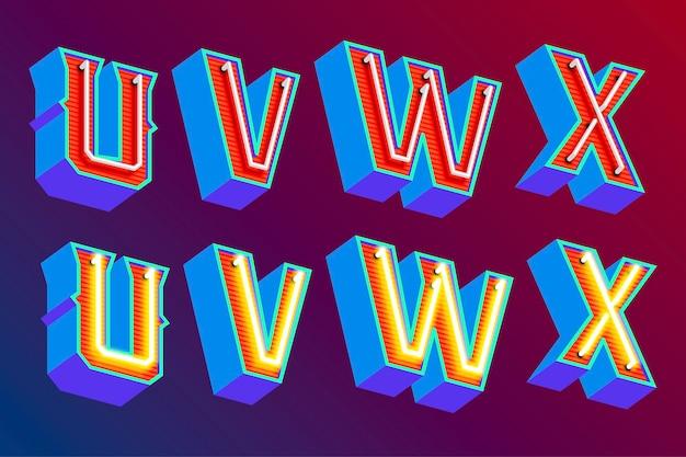 Letras vintage 3d com luzes de néon fluorescentes e modo de interruptor on / off