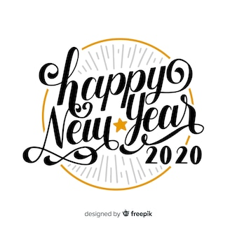Letras vintage com feliz ano novo