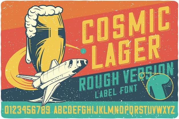 Letras vintage de cerveja cósmica