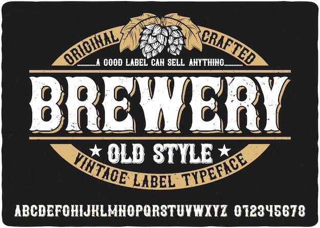 Letras vintage de cervejaria