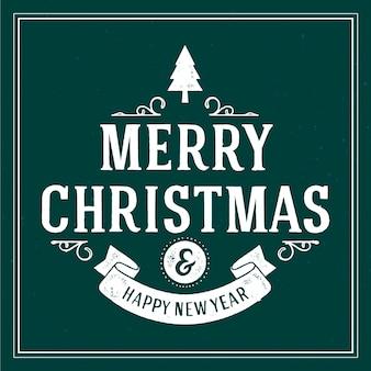 Letras vintage de natal com mensagem de feliz ano novo