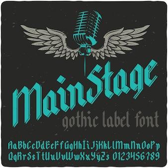Letras vintage de palco principal