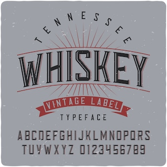 Letras vintage de tennessee whisky