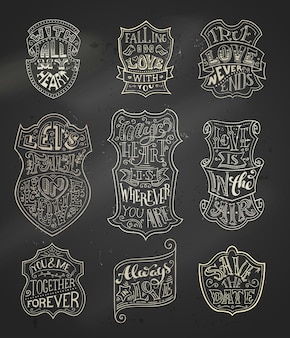 Letras vintage em chak manuscritas em emblemas