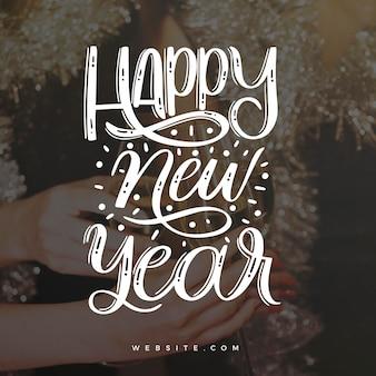 Letras vintage feliz ano novo 2021