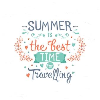 Letras vintage nas férias de verão, viagens