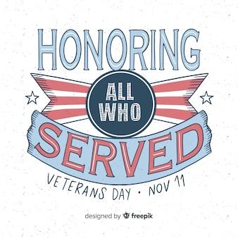 Letras vintage para evento do dia dos veteranos