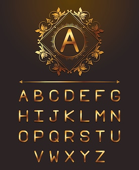 Letras vip de ouro alpahabet