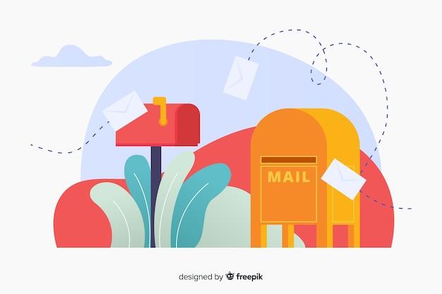 Letras voadoras com a página inicial da caixa de correio