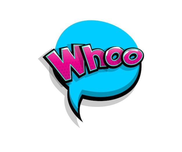Letras whoo, who, wow. arte pop em quadrinhos