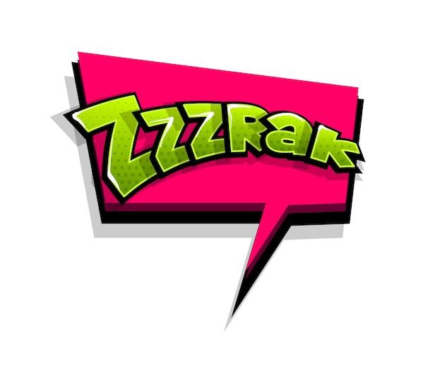 Letras zrak, zzz, smack. balão de fala em quadrinhos