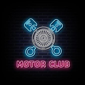 Letreiro de néon com logotipo de néon do motor club