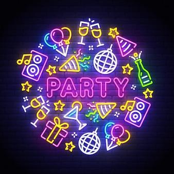 Letreiro de néon de festa