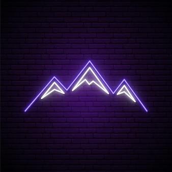 Letreiro de néon de montanhas