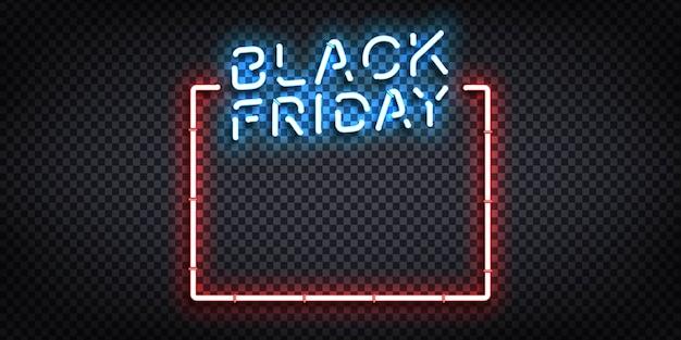 Letreiro de néon isolado realista do logotipo da black friday