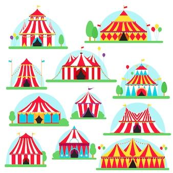 Letreiro de tenda de circo com listras e bandeiras