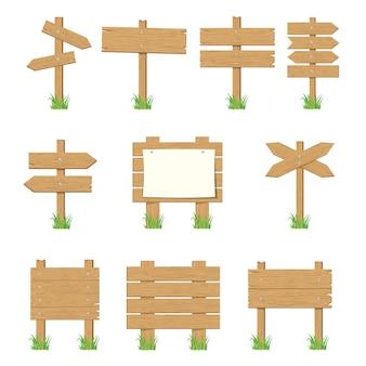 Letreiros de madeira, conjunto de sinais de seta de madeira