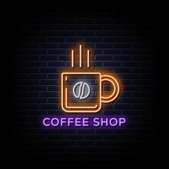 Letreiros de néon com logotipo de cafeteria