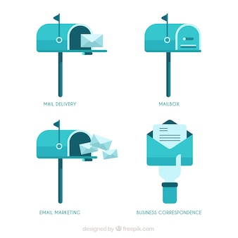 Letterboxes azuis no design plano
