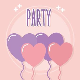 Letterig de festa com balões em forma de coração