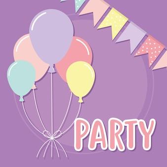 Letterig festa com balões e guirlandas decorativas de cores diferentes