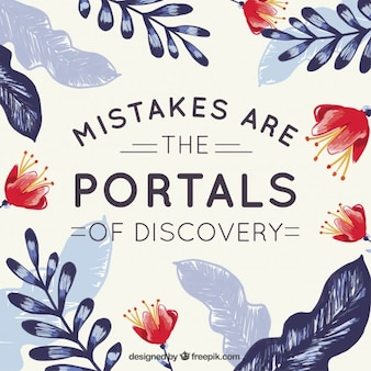 Lettering bonito sobre erros com folhas e flores pintados à mão