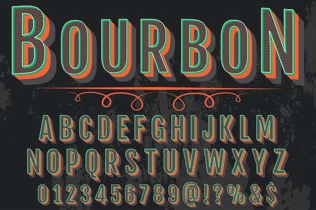 Lettering bourbon design de rótulo de efeito sombra
