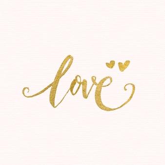 Lettering de amor dourado