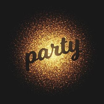 Lettering de vetor de partículas douradas festa