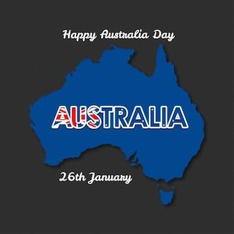 Lettering dia austrália feliz com a bandeira em uma ilustração do vetor coração