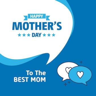Lettering feliz mães dia fundo azul