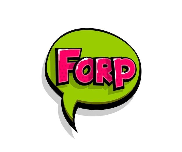 Lettering forp frr. balão de fala do logotipo em quadrinhos