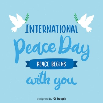 Lettering fundo de dia de paz com pomba